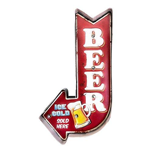 DiiliHiiri Cartel Retro Luminoso Cerveza Bar Vintage Letrero Metálico Artesania Accesorios Decoración Hogar (Ice Cold Beer Arrow)