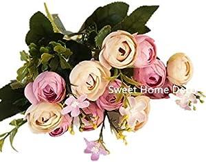 Sweet Home Deco 11'' Silk Baby Ranunculus Artificial Flower Bush Small Flower Bush Set of 2 Wedding/Home Decorations (Light Purple)
