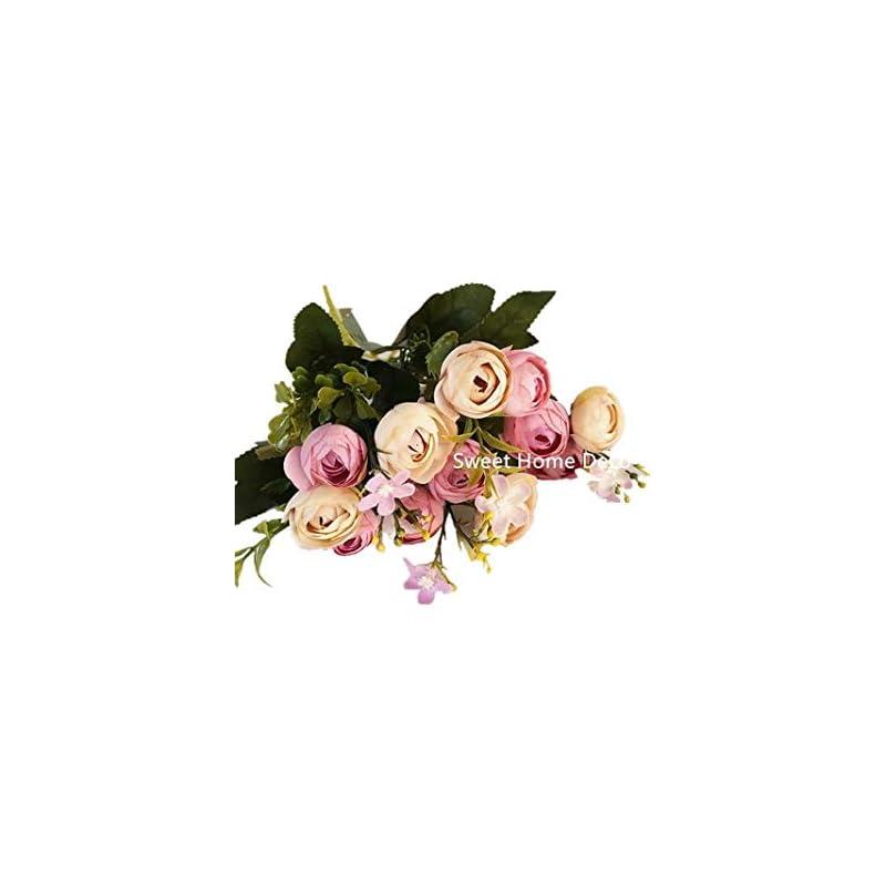 silk flower arrangements sweet home deco 11'' silk baby ranunculus artificial flower bush small flower bush set of 2 wedding/home decorations