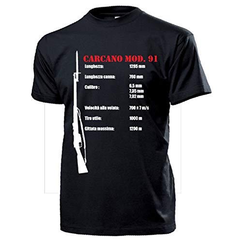 Carcano Mod.91 Italien Gewehr Karabiner Bajonette Waffe Militär - T Shirt #14386, Größe:XXL, Farbe:Schwarz