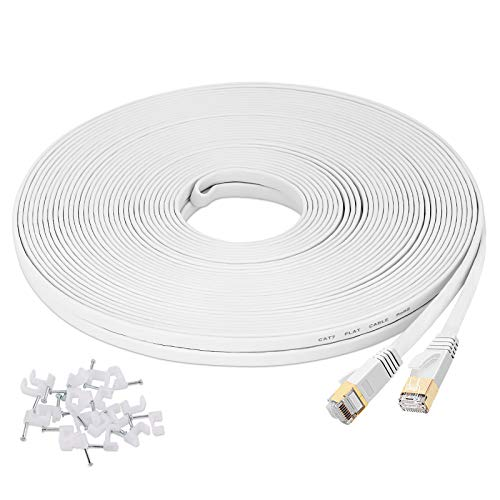 Cat7 Ethernet Cable 100ft LAN Cable Internet Network Cord for PS4, Xbox, Router, Modem, Gaming,Flat Shielded 10 Gigabit RJ45 High Speed Computer Patch Wire.