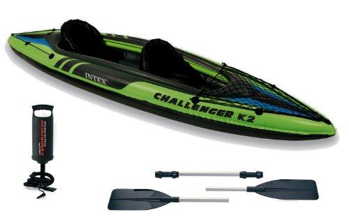 Intex Kajak K2 Challenger #68306 für 2 Personen, aufblasbar, mit Paddeln New Green Model