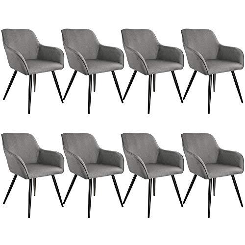tectake 800876 8er Set Esszimmerstuhl mit Armlehnen, Leinenoptik, gepolsterte Sitzfläche, Schwarze Metallbeine, für Wohnzimmer, Esszimmer, Küche und Büro (Hellgrau | Nr. 404093)