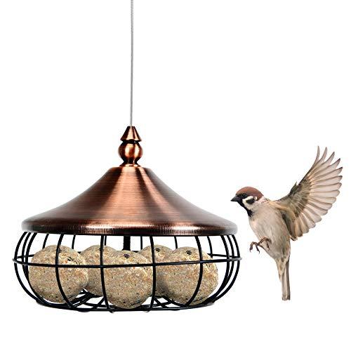 COSTWAY Suet Fat Ball Feeder, Hanging Wild Bird Feeders with Stainless Steel Wire and Iron Grid, Food Dispenser for Outdoor Garden Birds Feeding