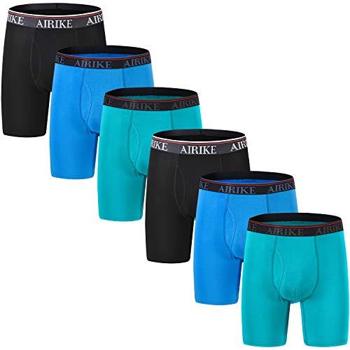 AIRIKE Herren Boxershorts Lang Unterhose Performance Retroshorts Atmungsaktiv Unterwäsche mit Eingriff Mehrfarbig 6 Pack L