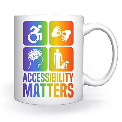 Accessibility Matters Disabilities Pride Colors Taza Blanco Para el Café Té Capuchino Cacao Mug Coffee Tea Cappuccino