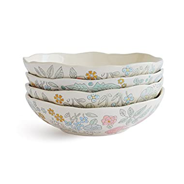 Dorotea 5218925 Hand Painted Soup/Cereal Bowl, 7.25-Inch, Set of 4