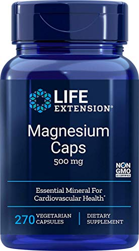 Life Extension Magnesium Caps 500mg, 270 Vegetarian Caps - 4 Mags in 1 Supplement: Oxide, Citrate, Succinate, Glycinate, Non GMO