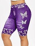 ArcherWlh Leggings Push Up Mujer Deporte,Pantalones Deportivos de la Mariposa de la impresión de la Mariposa Denim Pantalones de Yoga Hip-púrpura_L