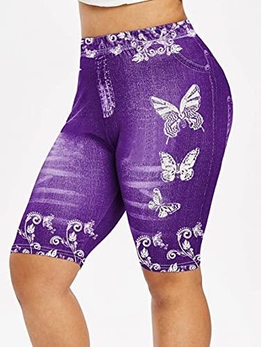 ArcherWlh Leggings Mujer Push Up,Pantalones Deportivos de la Mariposa de la impresión de la Mariposa Denim Pantalones de Yoga Hip-púrpura_S