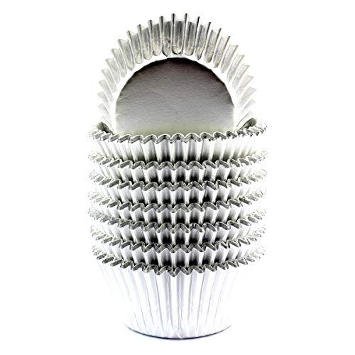 xlloest - Moldes para galletas de papel metalizado (200 unidades), color plateado