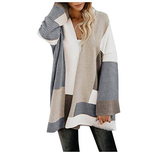 VJGOAL Femme Veste Pull Long Cardigan Mode Treillis D'épissage Design Hauts Tricot Manteau Automne et Hiver Mode Grande Taille Manches Longues Blouson Coupe-Vent Casual Chic Sweater Oversize S-XL