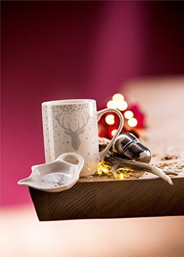 GILDE Teeset Hirsch-Design 3-teilig Porzellan Höhe 10 cm Teetasse Becher Tasse Sieb Landhaus