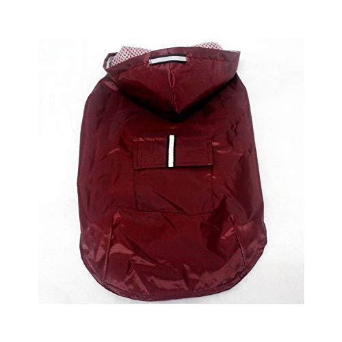 Pet Reflektierende Wasserdicht mit Kapuze Raincoat Resistant Nicht verformter Pet Poncho Für Medium Large Hunde, Rot, L