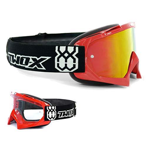 TWO-X Race Crossbrille rot Glas verspiegelt Iridium MX Brille Motocross Enduro Spiegelglas Motorradbrille Anti Scratch MX Schutzbrille