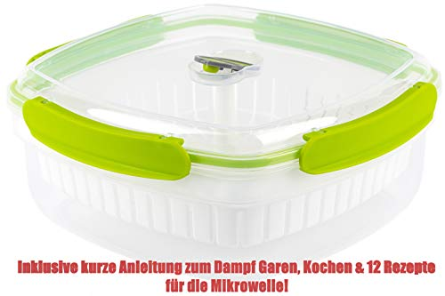 PRIVILEGE 2,9L Mikro Dampfgarer-Kartoffel & Gemüse Dampfgaren-Nudelkocher-Mikrowellengeschirr-Frischhaltebehälter-Gefrierschranktauglich