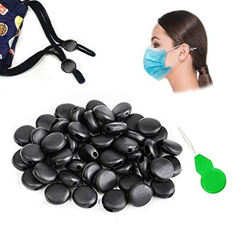 Cord Locks for Masks, Silicone Rope Toggles for Drawstrings, Adjustable Mask Elastic Cord Buckles Earloop Locks Non-Slip Stopper Adjuster, Suitable for Adult Children Masks (Black-100Pcs)