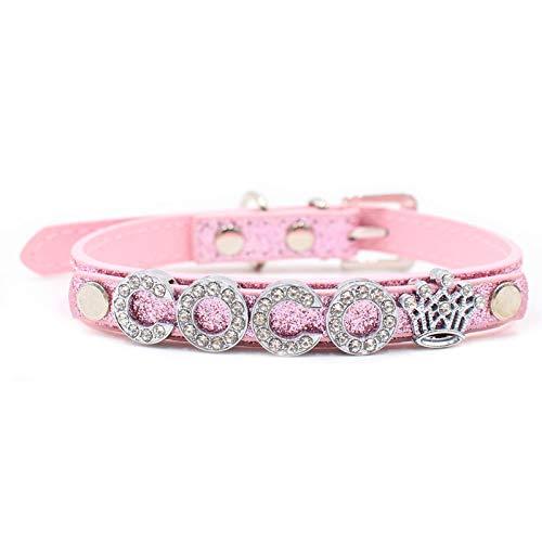 Carta de Moda Personalizada DIY Nombre Collares de Perro Bling Collar de Perro con Hebilla de Diamantes de imitación Cachorro Gato encantos de Letras para Teddy-Pink_XS