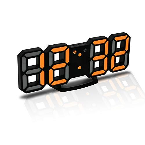 CENTOLLA 3D LED Digitalwecker, Wanduhr, Digitaluhr, 3D LED Wecker mit 3 einstellbaren Helligkeitstufen, dimmbare Nachtlichtfunktion für Haus, Küche oder Büro