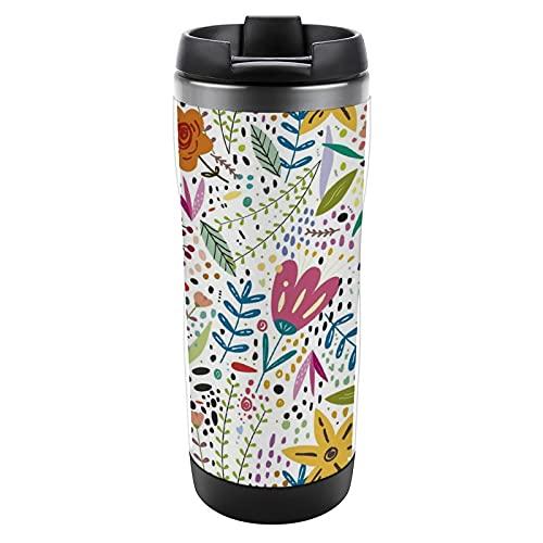 Vaso de acero inoxidable con tapa para té, café, bebidas calientes de hielo, taza de viaje de doble pared para camping, hogar, oficina, escuela, flores, fondo de pantalla de primavera