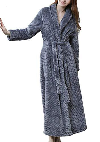 DSNOW Peignoir Femme Velours Robe de Chambre Polaire Chaud Long Flanelle Peignoir de Bain Eponge Hiver Longue Gris L