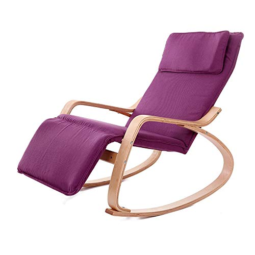 No brand Sofà Pigro Multifunzionale Xuxue Q1 in Legno curvato Sedia a Dondolo in Legno Massiccio di Betulla Folding Lounge Chair (Nero) (Color : Purple)