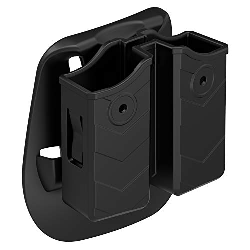 Double Magazine Holster, Universal 9mm .40 Double Stack Mag. Pouch Dual Stack Mag Holder with Adjustable Paddle Fit Glo-ck Sigsauer S&W Beretta Browning Taurus H&K Most Pistol Mags