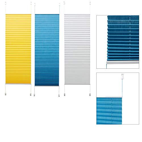 DbKW (Weiß, 80 x 130 cm) Plissee Faltrollo Faltstore ohne Bohren-Klemmfix Blickdicht easyfix Sonnenschutz