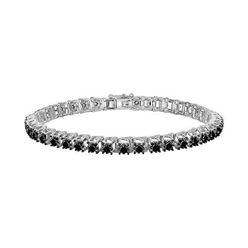 Silvernshine Jewels - Braccialetto da tennis con zirconia cubica nera, placcato in oro bianco 14 k, da donna e Argento, colore: bianco, cod. SNSBR223_7