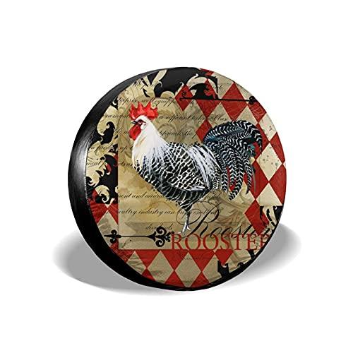 Hokdny Cubierta DE LA Rueda Cartel de la Granja del Vintage del Gallo Romantic Wheel Cover with PVC Leather Waterproof Dust-Proof Fit