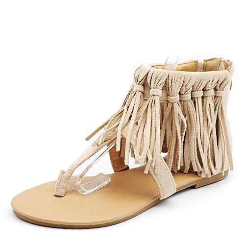 IF Fashion Scarpe da Donna Sandali Infradito Etnico Frange Pelle Sintetica 060156 Beige N.39