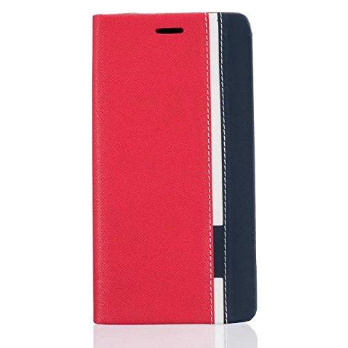 Für Xiaomi Mi Max 2 Lederhülle , YIGA Farbe Stitching rot Tasche PU Leder Cover Standfunktion Schutzhülle Handy-Kasten Handyhülle Bookstyle Handytasche Ledertasche Hülle Hülle für Xiaomi Mi Max 2