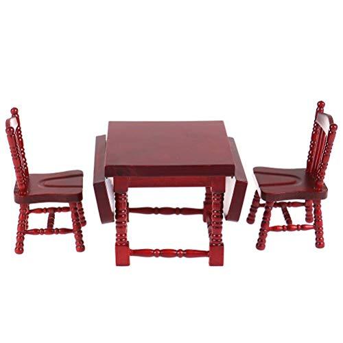FADACAI 1 juego 1:12 casa de muñecas miniatura mesa de comedor silla casa de muñecas muebles de madera juguete decoración casa de muñecas