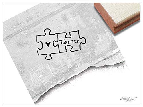 Stempel Motivstempel Puzzle Together, 2 Größen - Bildstempel Liebesgrüße Valentinstag Hochzeit Karten Basteln Tischdeko Geschenk - zAcheR-fineT