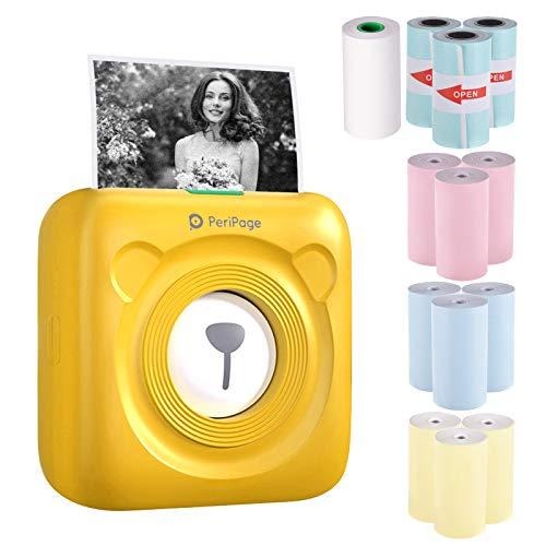 Aibecy PeriPage Mini Handydrucker Fotodrucker BT Thermodrucker Bildetikett Memo Drucker + 9 Rollen Farb Thermopapier + 3 Rollen Selbstklebendes Aufkleberpapier 57 * 30mm(gelb)
