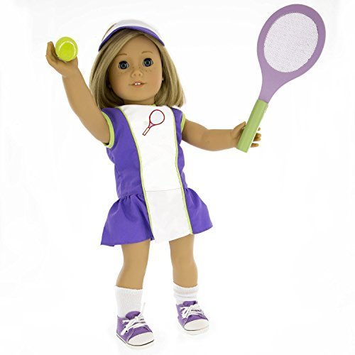 Tennis Sports Doll Outfit (6 Piece Set) - Clothes for American Girl & 18' Dolls - Includes Dress, Hat, Racket, Ball, Socks, & Shoes