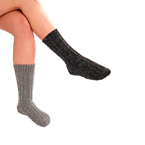 Socken mit Alpaka-Wolle, superweich, hautsympathisches Material, waschbar, schwarz, grau