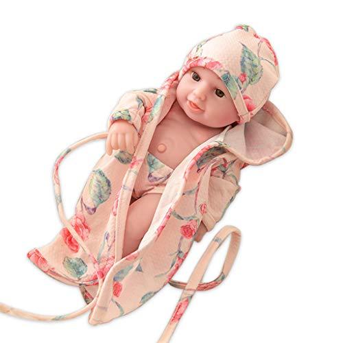 RG-FA Baby-Puppe mit offenen Augen, buntes Kleid, 61 cm, reborn Babypuppe, Geschenk für Babys, realistische Neugeborene, interaktive Puppe, 009, große Blume, Nachthemd, dreiteiliges Set