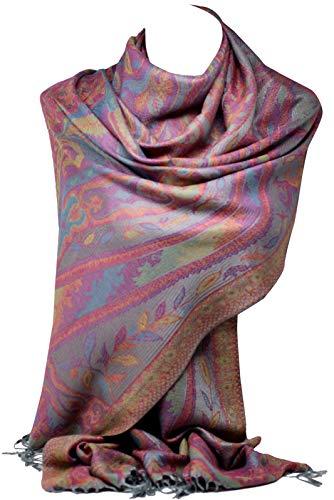 Bullahshah Bullahshah Schöne Paisley ethnischen Print Pashmina Gefühl Wrap Schal Schal Schals Hijab in satte Farben (Grau)