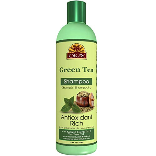 OKAY   Green Tea Nourishing Antioxidant Rich Shampoo   For All Hair Types & Textures   Revitalize - Rejuvenate - Restore Moisture   With Tea Tree Oil   Free of Parabens, Silicones, Sulfates   12 oz