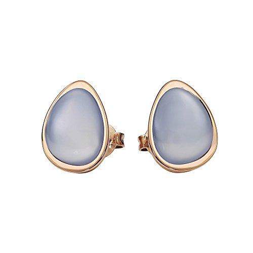 Metal Damen-Pendientes de acero inoxidable chapado en oro calcedonia azul parte - 411993G0