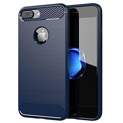 Cadorabo Cover per Apple iPhone 7 PLUS / 7S PLUS - Cover in BRUSHED BLU - Cover per Cellulare Realizzata in Silicone TPU in Acciaio Inox Fibra di Carbonio - Protettiva Custodia Morbida Ultra Sottile