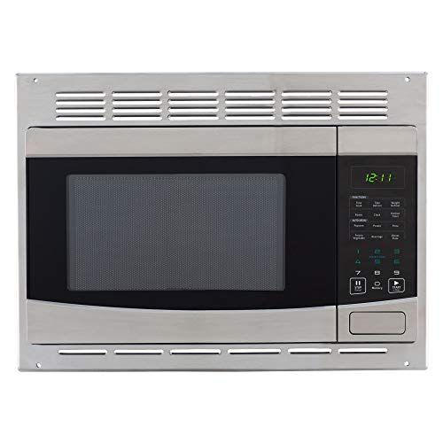 RecPro RV Stainless-Steel Microwave 1.0 cu ft. With Trim Package EM925AQR-S | Direct replacement for Greystone and High Pointe