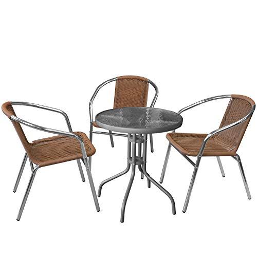 Wohaga 4er Bistro- und Balkonmöbel-Set Glastisch Ø60cm Anthrazit + 3X Aluminium Bistro Stapelstühle Poly-Rattanbespannung Silber/Natur Gartenmöbel Campingmöbel