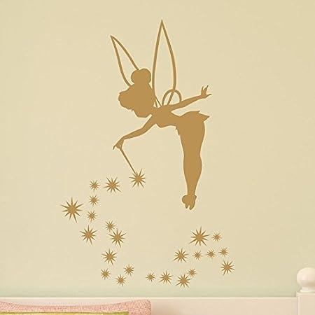 Ambiance-Live Sticker mural Fée Clochette Doré 2-45 x 35 cm