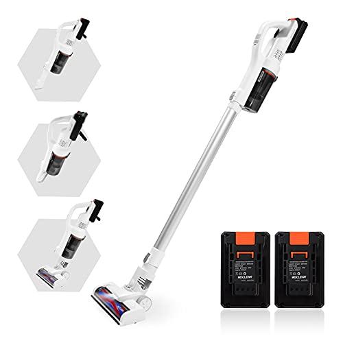 WECLEAN Akku-Staubsauger, 16000pa, Bis zu 60 Minuten Laufzeit, 200W Leistungsstarker Sauger mit LED, 4 in 1 Stabstaubsauger für Teppich, Hartboden & Haustier (2 Batterien, Weiß)