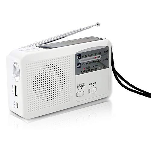 CareMont Radio de Emergencia con Solar y Manivela Autoalimentado, BateríA USB Recarga FM/Am Radio LED Linterna Cargador de TeléFono