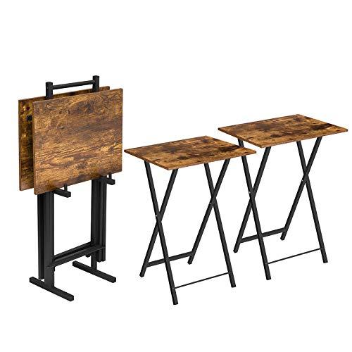 HOOBRO klappbarer Gartentisch, Campingtisch, Set klappbar, tragbarer Picknicktisch, 4-Set mit aufhängbarem Gestell, für Garten, Balkon, Beistelltisch mit einem stabilen Metallgestell, EBF50BZHW01