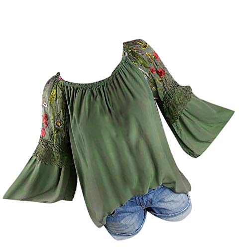 Bringbring Damen Bluse Floral Stickerei Trompete Ärmel Hemd Spitze Langarm Damenblusen Blusenshirt Oberteile Tops T-Shirt