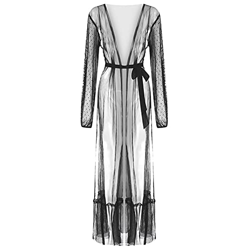 Frauen Sexy Thin Mesh Langes Cover Up Kleid Kimono-Nachthemd Mit Transparenter Vorderseite Zum Binden Nachthemd Aus Durchsichtigem Netzstoff Mit Spitze (Schwarz,XXL)